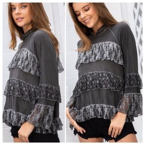 Charcoal Black Tiered Ruffle Lace Top